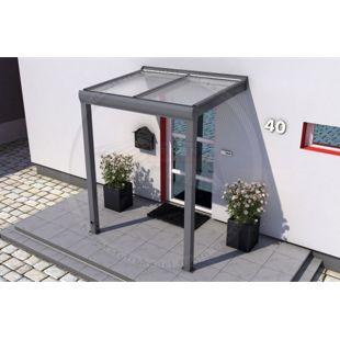 REXOvita Titan Haustür-Vordach 150 x 100 cm anthrazit mit Plexiglas