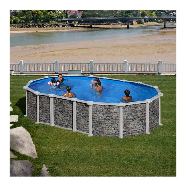 Gre Santorini Dream Pool oval 610 x 375 x 132 cm Stahlwandbecken-Set ...