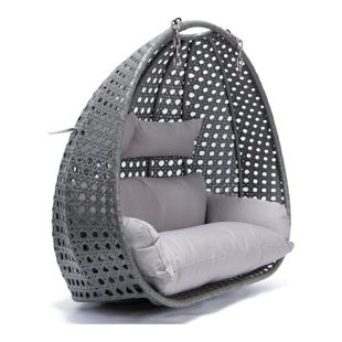 Home Deluxe Twin Polyrattan Hängesessel, grau