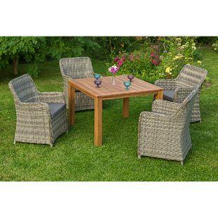 Merxx Tischgruppe Riviera mit Holztisch 110x110cm, 9-teilig