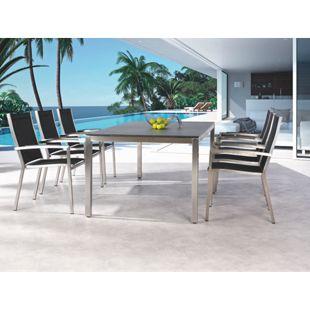 Best Freizeitmöbel Edelstahl Tischgruppe Marbella 7-teilig