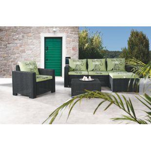Best Freizeitmöbel Loungegruppe Kenia 4-tlg. - graphit/grün