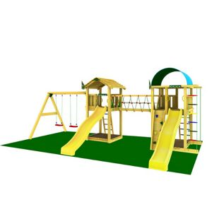"""Jungle Gym® """"Paradise 7"""" Spiellandschaft mit zwei Spieltürmen, Doppelschaukel und 2 gelbe Rutschen"""