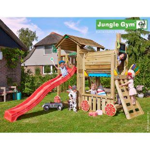 """Jungle Gym® """"Cottage Train"""" Spielturm mit Zug-Klettergerüst und rote Rutsche"""