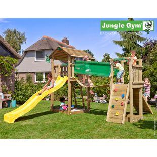 """Jungle Gym® """"Cottage Bridge"""" Spielturm mit Hängebrücke und gelbe Rutsche"""