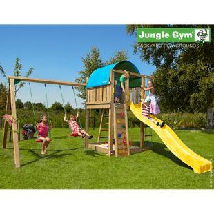 """Jungle Gym® """"Villa 2-Swing"""" Spielturm mit Doppelschaukel und gelbe Rutsche"""