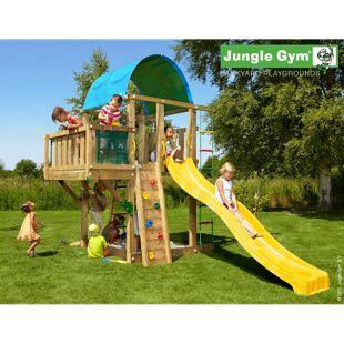 """Jungle Gym® """"Villa Balcony"""" Spielturm mit Balkon-Aufbau und gelbe Rutsche"""