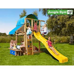 """Jungle Gym® """"Villa Mini Picnic 160"""" Spielturm mit Picknick-Tisch und gelbe Rutsche"""