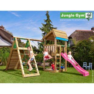 """Jungle Gym® """"Home Climb"""" Spielturm mit Klettergerüst, Schaukel und pinke Rutsche"""