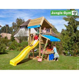 """Jungle Gym® """"Mini Market"""" Spielturm mit Marktstand und gelbe Rutsche"""