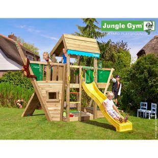 """Jungle Gym® """"Home Boat"""" Spielturm mit Schiff-Klettergerüst und gelbe Rutsche"""