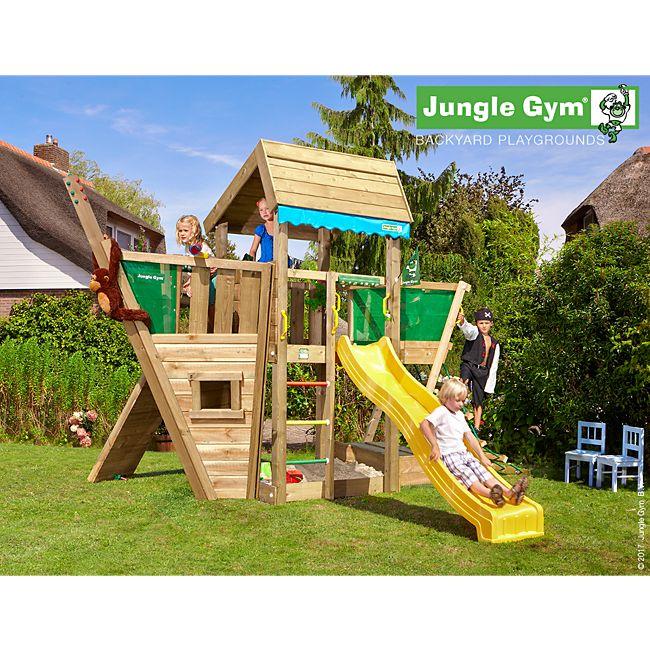 jungle gym home boat spielturm mit schiff kletterger st und gelbe rutsche online kaufen. Black Bedroom Furniture Sets. Home Design Ideas