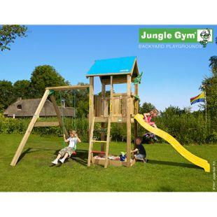 """Jungle Gym® """"Castle 1-Swing"""" Spielturm mit Schaukel und gelbe Rutsche"""