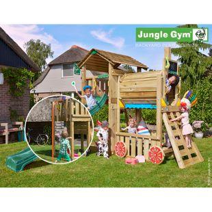 """Jungle Gym® """"Cottage Train"""" Spielturm mit Zug-Klettergerüst und Feuerwehr-Rutschstange"""