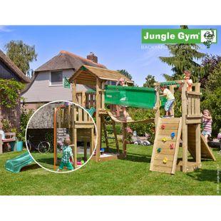 """Jungle Gym® """"Cottage Bridge"""" Spielturm mit Hängebrücke und Feuerwehr-Rutschstange"""
