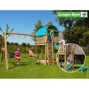 """Jungle Gym® """"Villa 2-Swing"""" Spielturm mit Doppelschaukel und Feuerwehr-Rutschstange"""
