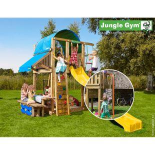 """Jungle Gym® """"Villa Mini Picnic 160"""" Spielturm mit Picknick-Tisch und Feuerwehr-Rutschstange"""