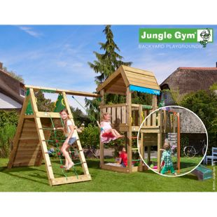 """Jungle Gym® """"Home Climb"""" Spielturm mit Klettergerüst, Schaukel und Feuerwehr-Rutschstange"""