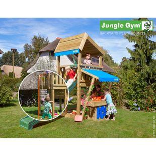 """Jungle Gym® """"Mini Market"""" Spielturm mit Marktstand und Feuerwehr-Rutschstange"""