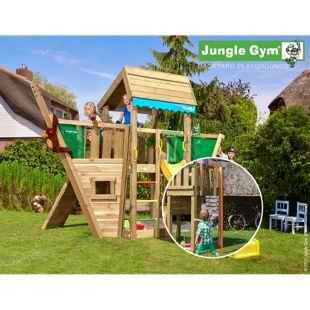 """Jungle Gym® """"Home Boat"""" Spielturm mit Schiff-Klettergerüst und Feuerwehr-Rutschstange"""