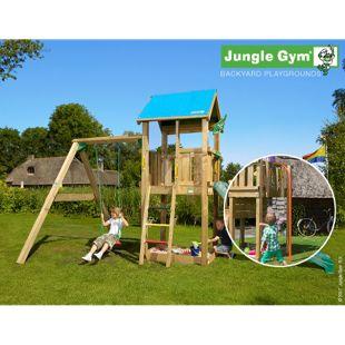 """Jungle Gym® """"Castle 1-Swing"""" Spielturm mit Schaukel und Feuerwehr-Rutschstange"""