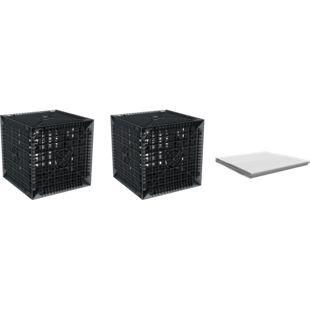 GreenLife Starterset/Erweiterungsset Versickerung 410 l, bestehend aus 2 Sickerwürfel 205 l und 6 m² Geotextil