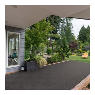 Home Deluxe WPC Terrassenfliesen, 11 Stck., 30x30 cm, 1m², dunkelbraun