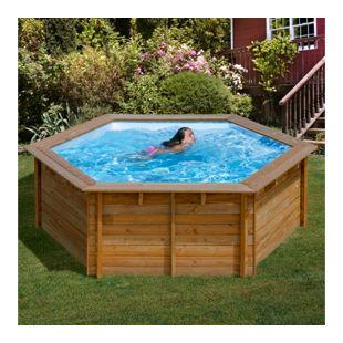 Gre Echtholz-Pool Vanille ECO, Ø 412 x 119 cm