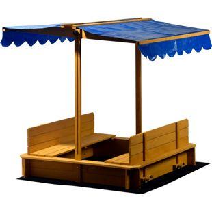 Dobar 94357FSC Sandkasten mit Sitzbänken, Bodenplane und Dach