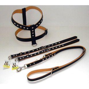 "Halsband ""Stars"", 40cm lang, Farbe schwarz/cognac"