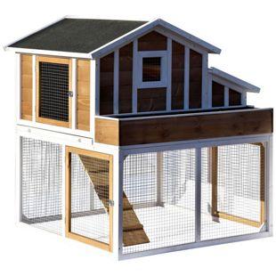 Dobar Hühner- und Kleintierstall mit Außengehege, Blumenkasten und Legebox
