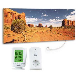 """Marmony 800W Infrarot-Heizung Motiv """"Monument Valley"""" mit Thermostat MTC-40"""