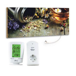 "Marmony 800W Infrarot-Heizung Motiv ""Flower Table"" mit Thermostat MTC-40"