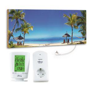 "Marmony 800W Infrarot-Heizung Motiv ""Beach"" mit Thermostat MTC-40"