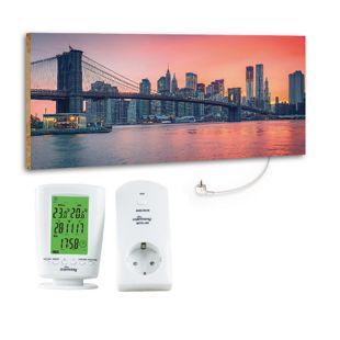 """Marmony 800W Infrarot-Heizung Motiv """"City Sunset"""" mit Thermostat MTC-40"""