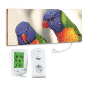 """Marmony 800W Infrarot-Heizung Motiv """"Birds"""" mit Thermostat MTC-40"""
