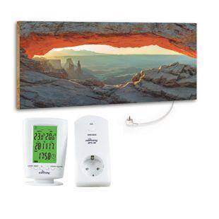 """Marmony 800W Infrarot-Heizung Motiv """"Mountain View"""" mit Thermostat MTC-40"""