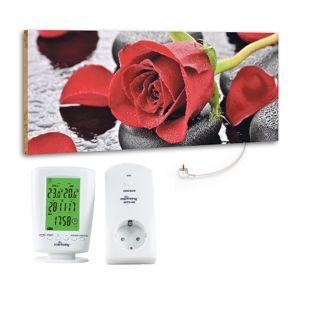 "Marmony 800W Infrarot-Heizung Motiv ""Red Rose"" mit Thermostat MTC-40"