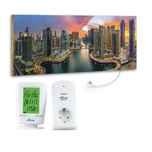 "Marmony 800W Infrarot-Heizung Motiv ""Dubai Marina""mit Thermostat MTC-40"