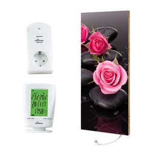 """Marmony 800W Infrarot-Heizung Motiv """"Roses"""" mit Thermostat MTC-40"""