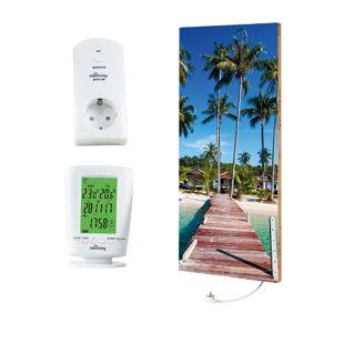 "Marmony 800W Infrarot-Heizung Motiv ""Beach 2"" mit Thermostat MTC-40"