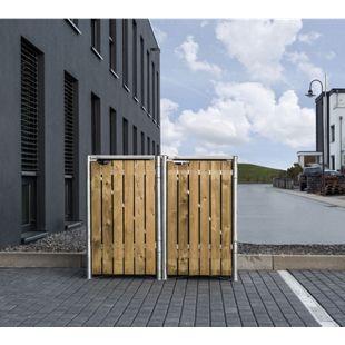 Hide Mülltonnenbox 240l Holz, 2er Box, natur