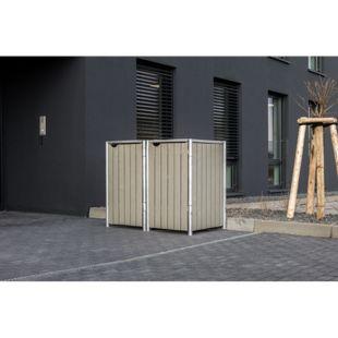 Hide Mülltonnenbox 240l Holz, 2er Box, natur grau