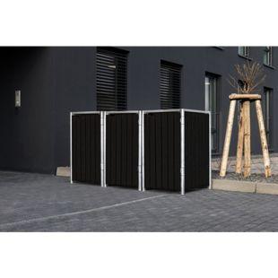 Hide Mülltonnenbox 140l Kunststoff, 3er Box, schwarz