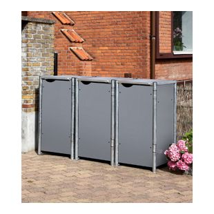 Hide Mülltonnenbox 140l Kunststoff, 3er Box, grau