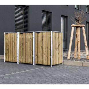 Hide Mülltonnenbox 140l Holz, 3er Box, natur