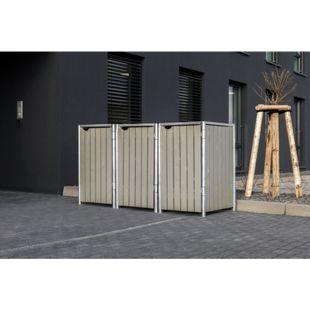 Hide Mülltonnenbox 140l Holz, 3er Box, natur grau