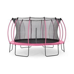 Plum 426cm Colours Springsafe Trampolin mit Sicherheitsnetz - Flamingo Pink/Tropic Türkis