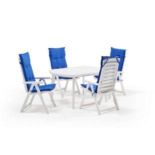 Allibert Garten Set Garda 5-teilig weiß mit blauen Auflagen