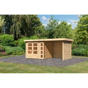 Woodfeeling Gartenhaus Kerko 3 mit Anbaudach ca. 2,40 m breit und 19 mm Seiten-/ Rückwand, naturbelassen